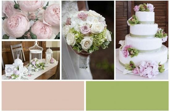 rose and green for wedding